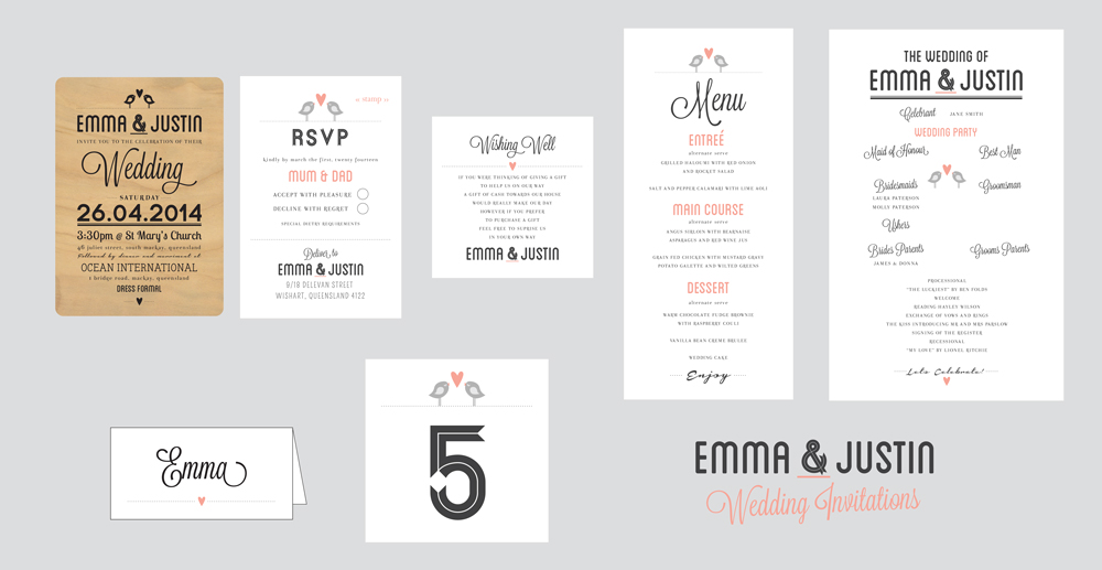 Emma & Justin's Invitations Package